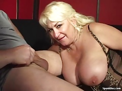 Big titted mature loves smoking and deep throating