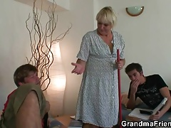 2 lads poke highly old cleaning woman