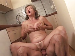 granny banged in the kitchen