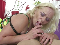 Old granny gargle and fuck young cock like true whore