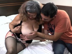 Delivery stud boinks with old granny with enormous boobs