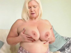 Agedlove Mature blonde Lacey playing with huge tits