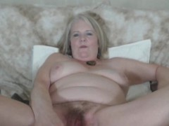 Busty Chubby Grandmother Fucks Her Wooly Pussy