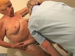 Elder fat bbw grandmother stripped in bathroom