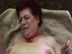 Sandy-haired grandma fucked hard in outdoor action