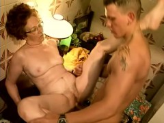 Eager grandmother spreads her legs to have her wet cooch stretched