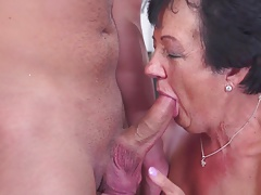 Happy Grandmother deep-throat and fuck young dude