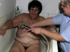 Fat grandma gets handled by the nurse