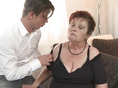 Bigtit grandma deep-throat and pulverize  boy