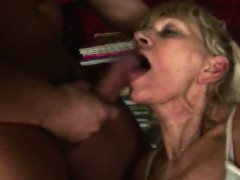 Blonde granny blowjob big pecker rough shaved cunt
