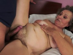 Hairy granny fucked in missionary