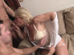 Hot blonde  swallows two cocks at once
