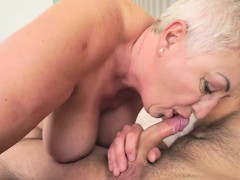 Naughty grandma Astrid entices kinky Rob and tears up him insanely