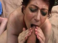 Chubby Granny Tamara Sucking Long Cock In