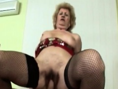 Busty blond grandma pleasuring lengthy pulsating cock
