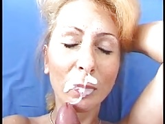 Aged thick facial cumshot