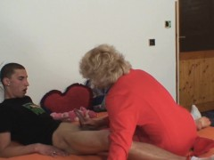 She finds her old mom  husband's cock