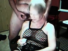 Granny stimulates her cunt and gets cummed on