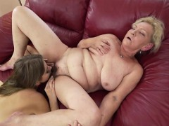 Russian Julia Red eating granny Irenes wooly pussy and arse