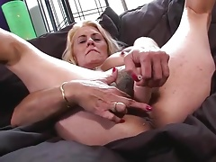 Fur covered GRANNY SHOWS OFF HER WET PUSSY