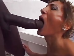 Wooly White GILF loves dark Big black cock