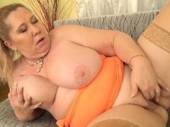 Euro gilf Dita works her big baps and mature pussy