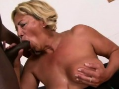 Meaty bap GILF is playing with a phat black  for joy