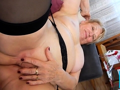 Hot grandma get her delicious pussy fingered