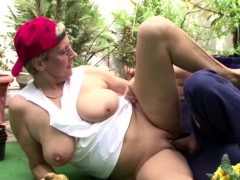 Swiss Grandma Seduce German Young  to Smash in the Garden