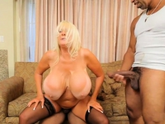 Giant jugs milf interracial and creampie