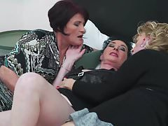 3 grannies lick and fuck each other in lesbo threesome