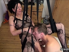German Step-Son Fuck Mommy with Stockings in Love Swing