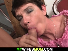 Cock-hungry older mother in law rides his cock